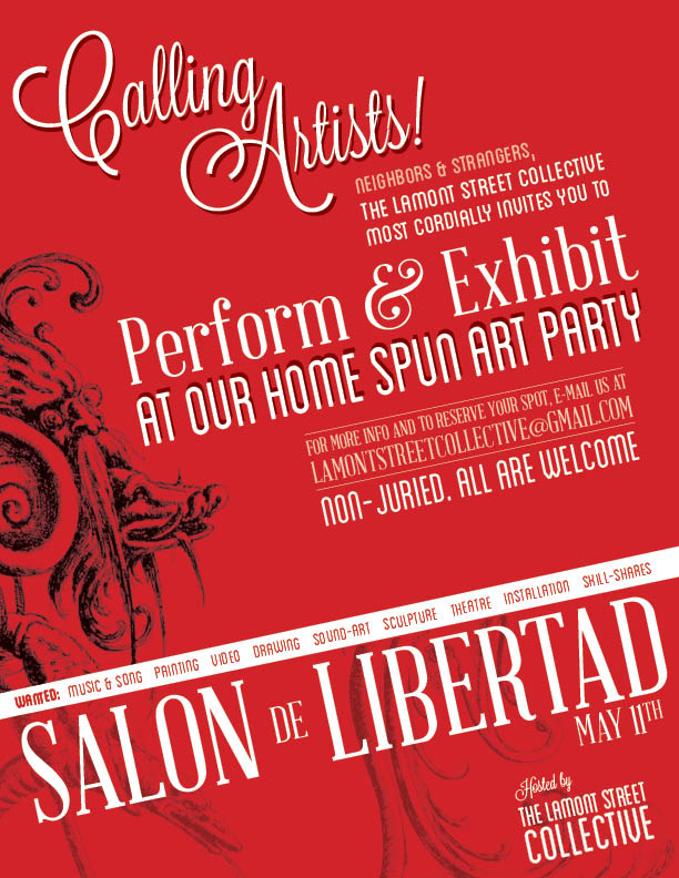 The Salon de Libertad is a huge community art party hosted annually by the Lamont Street Collective.
