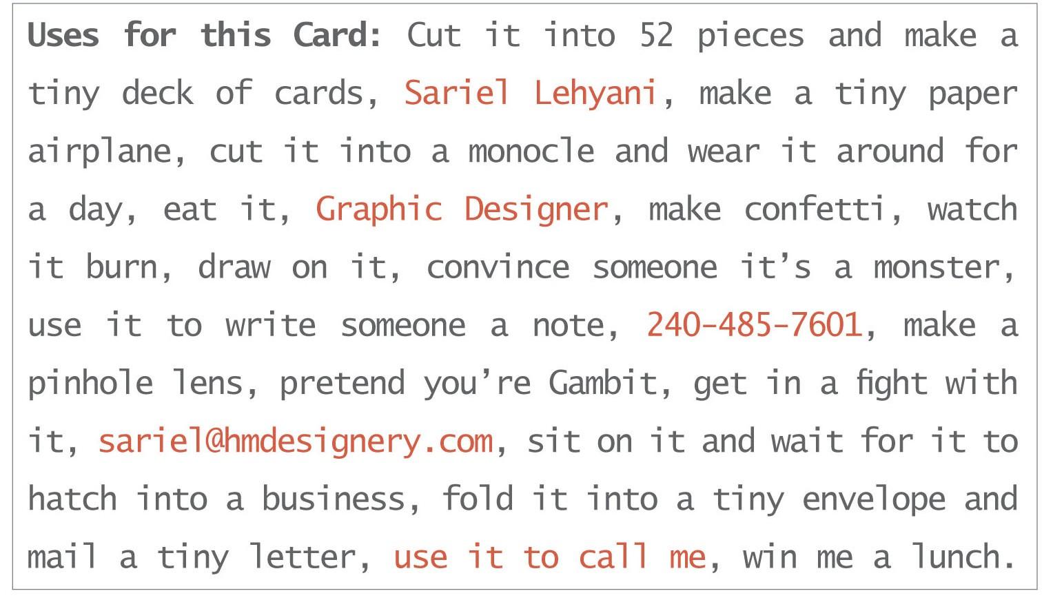 Sariel Lehyani Business Card Front